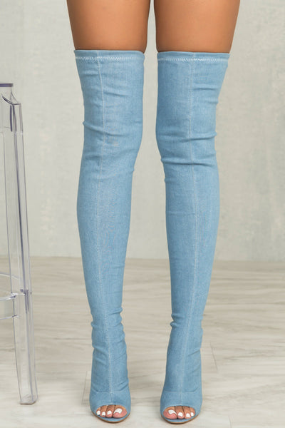 Kate Thigh High Stretch Boot (Denim)- FINAL SALE