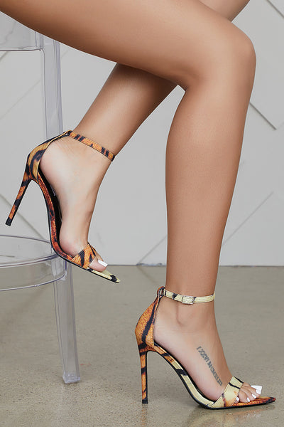Single Sole Tiger Print Heel- FINAL SALE