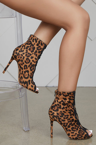 Felicia Leopard Cut Out Booties- FINAL SALE