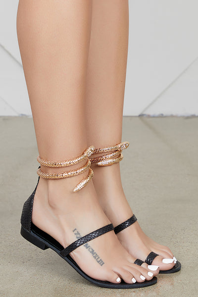 Ivanna Snake Sandal (Black)- PREORDER ONLY SHIPS END OF MAY
