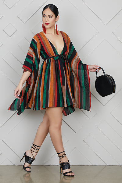 Dramatic Sleeves Multi Stripe Dress