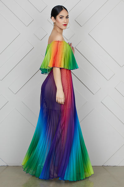 Taste The Rainbow Off Shoulder Dress