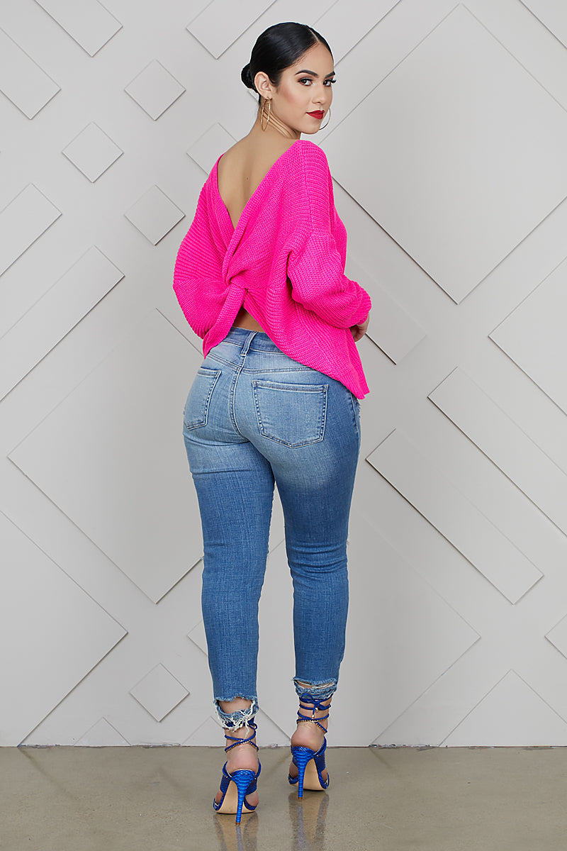 Twisted Love Sweater (Hot Pink)- FINAL SALE