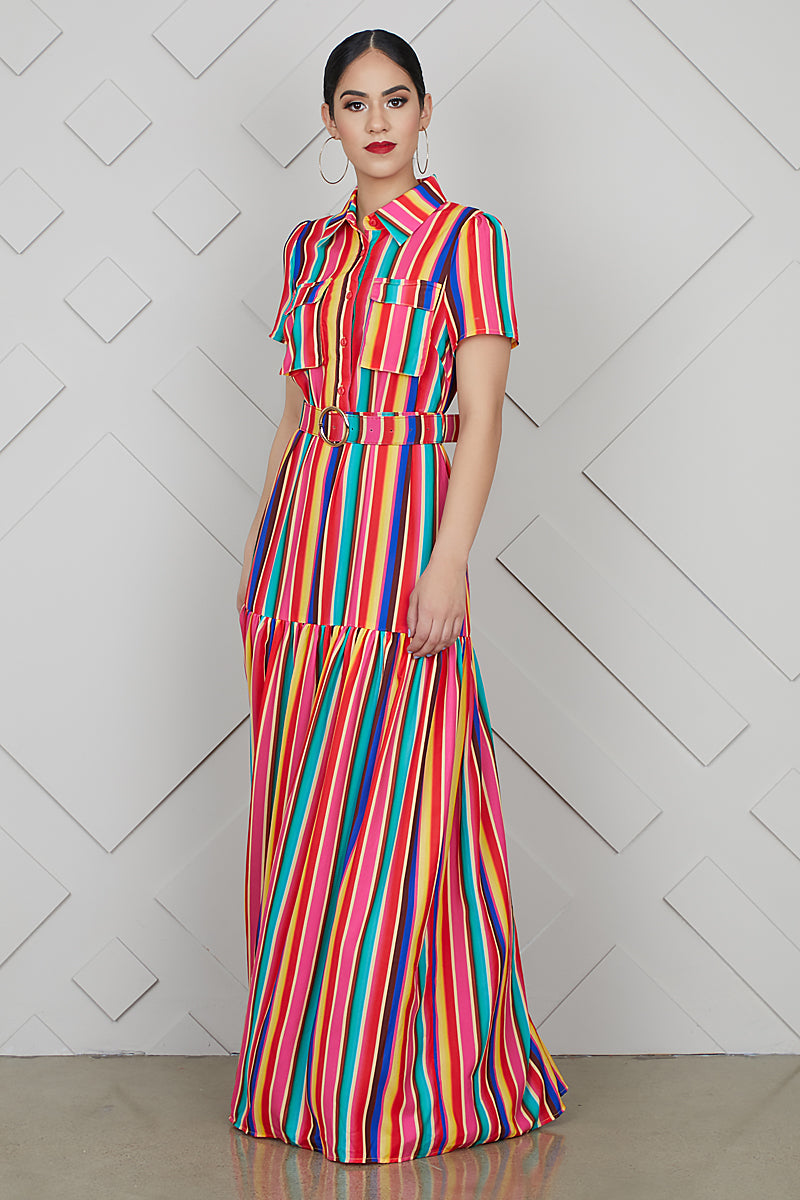 Multi Color Stripe Maxi Dress- FINAL SALE