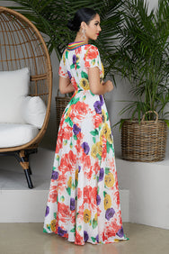 Mardi Gras Floral Wrap Dress