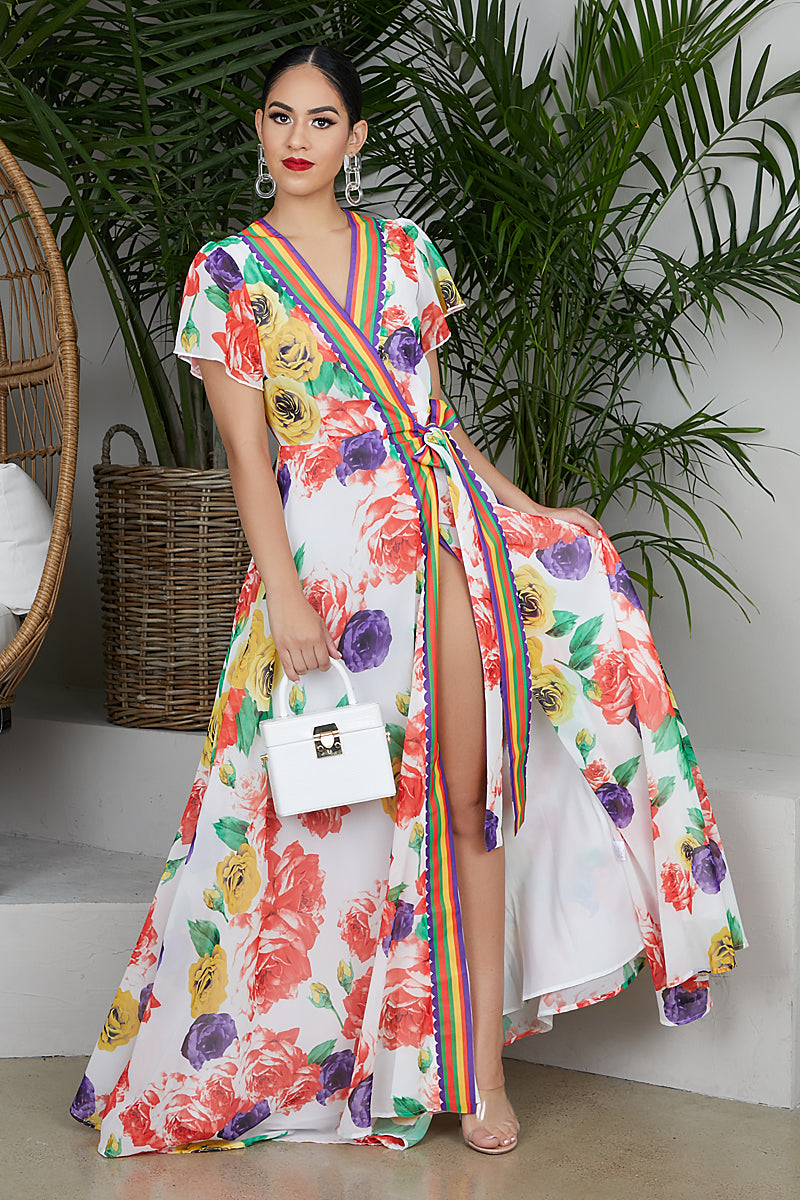 Mardi Gras Floral Wrap Dress- FINAL SALE