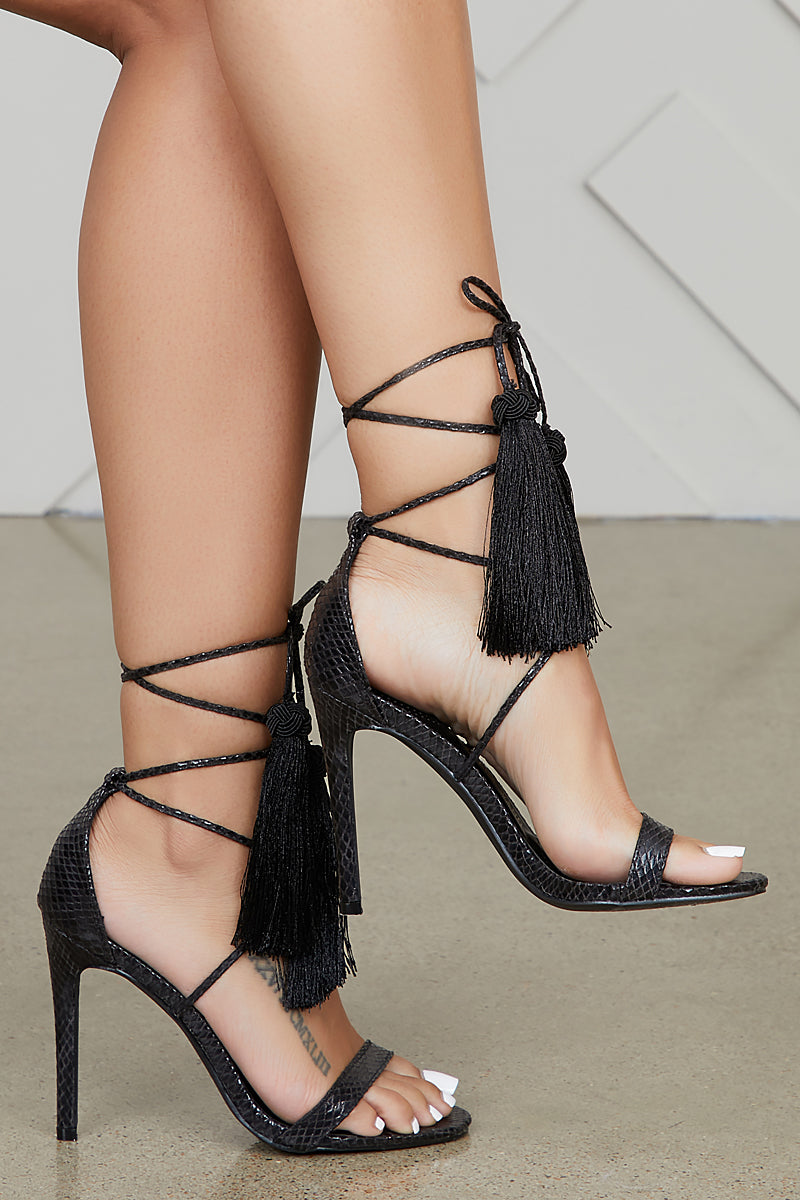 Plato Lace Up Tassel Heel (Black)