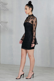 Lace Bell Sleeve Dress (Black)