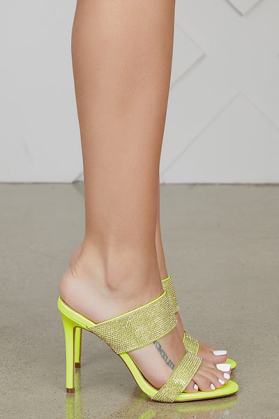 Neon Yellow Rhinestone Mules- FINAL SALE
