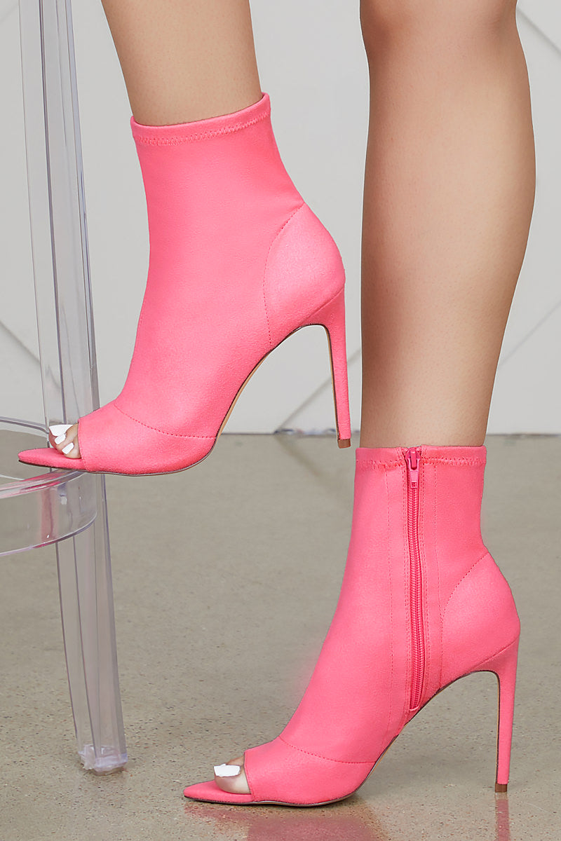 Straight To The Point Bootie (Neon Pink)- FINAL SALE