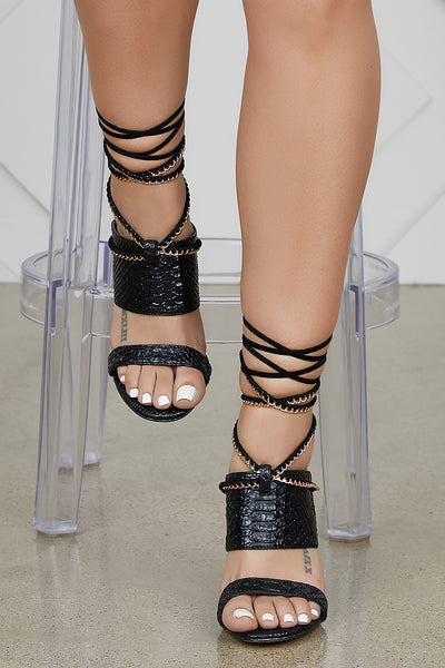 Ava Lace Up Heel (Black)-PREORDER ONLY SHIPS MID MAY