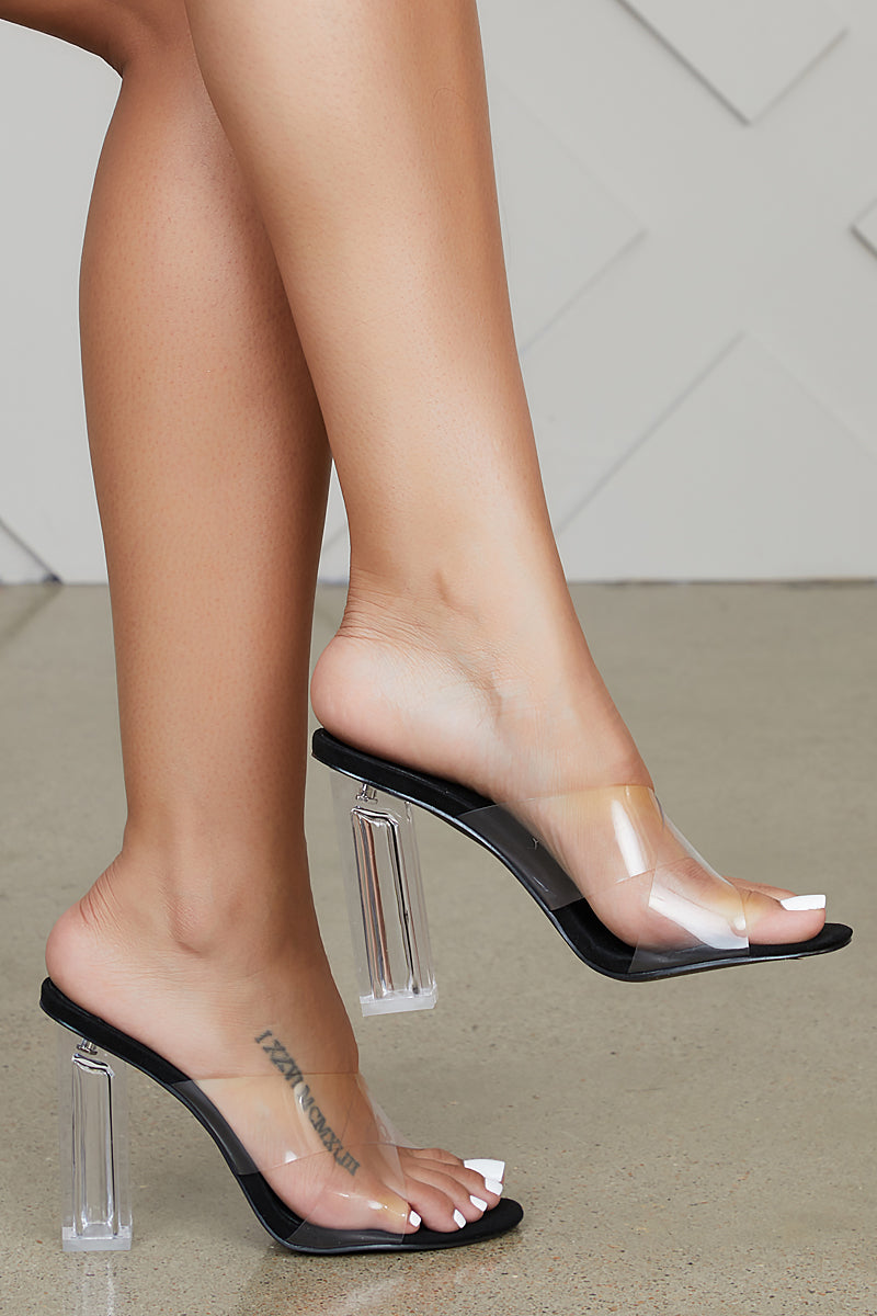 Transparent Clear Mule Heel (Black)