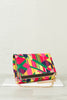 Geometric Print Fold Over Clutch