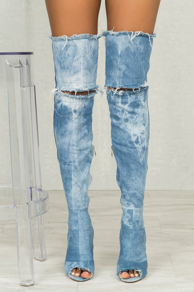 Barbara Distressed Denim Boots- FINAL SALE