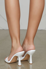 Found Unique Heel Mule (White)
