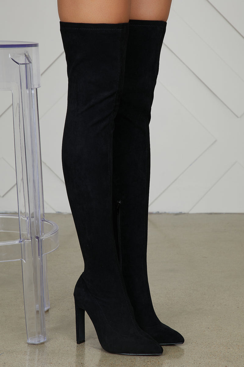 Vera Thigh High Stretch Boot (Black)- FINAL SALE