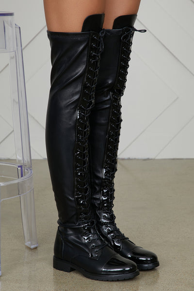 Revived Over The Knee Combat Boots- FINAL SALE