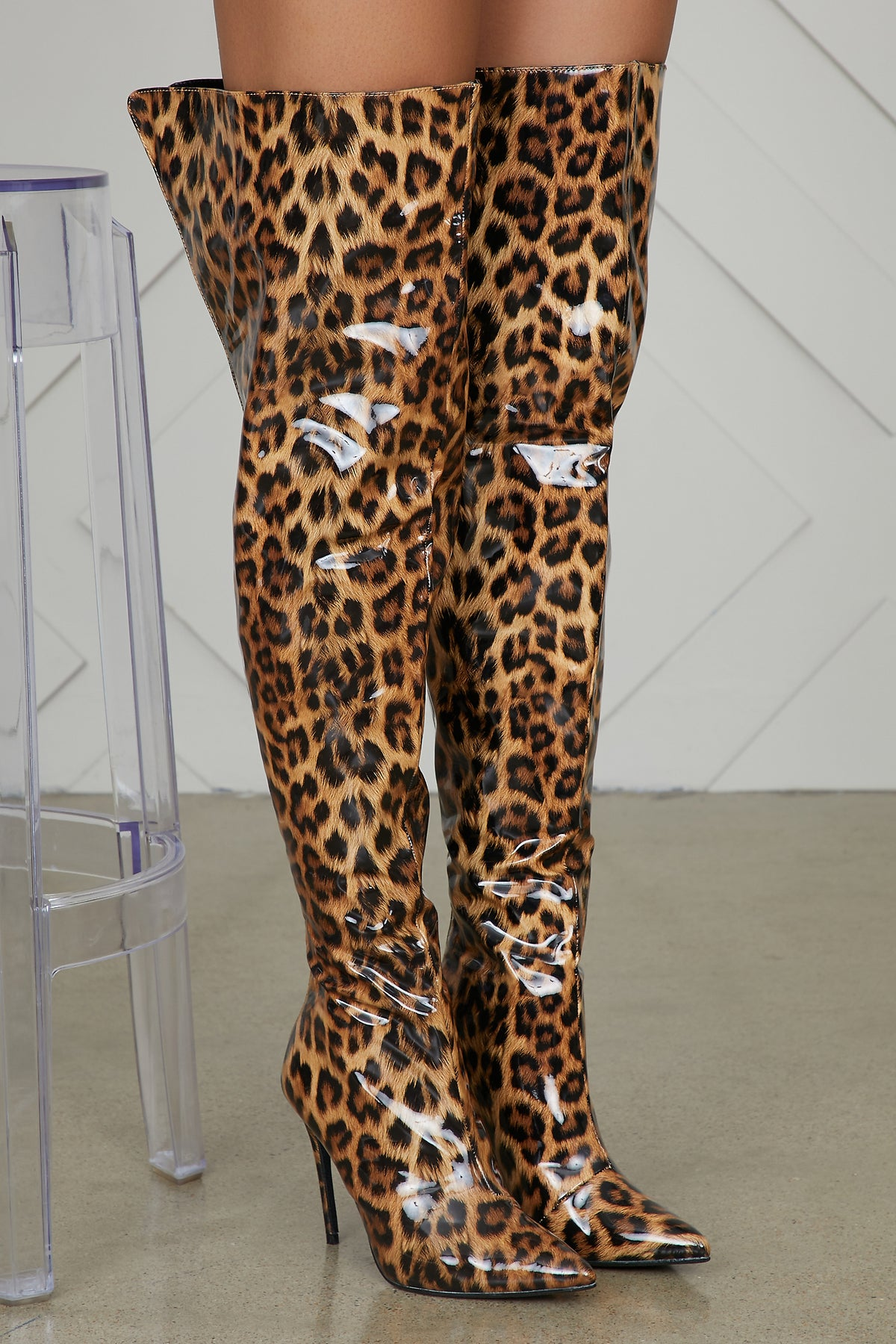 Patent Leather Thigh High Leopard Boots- FINAL SALE