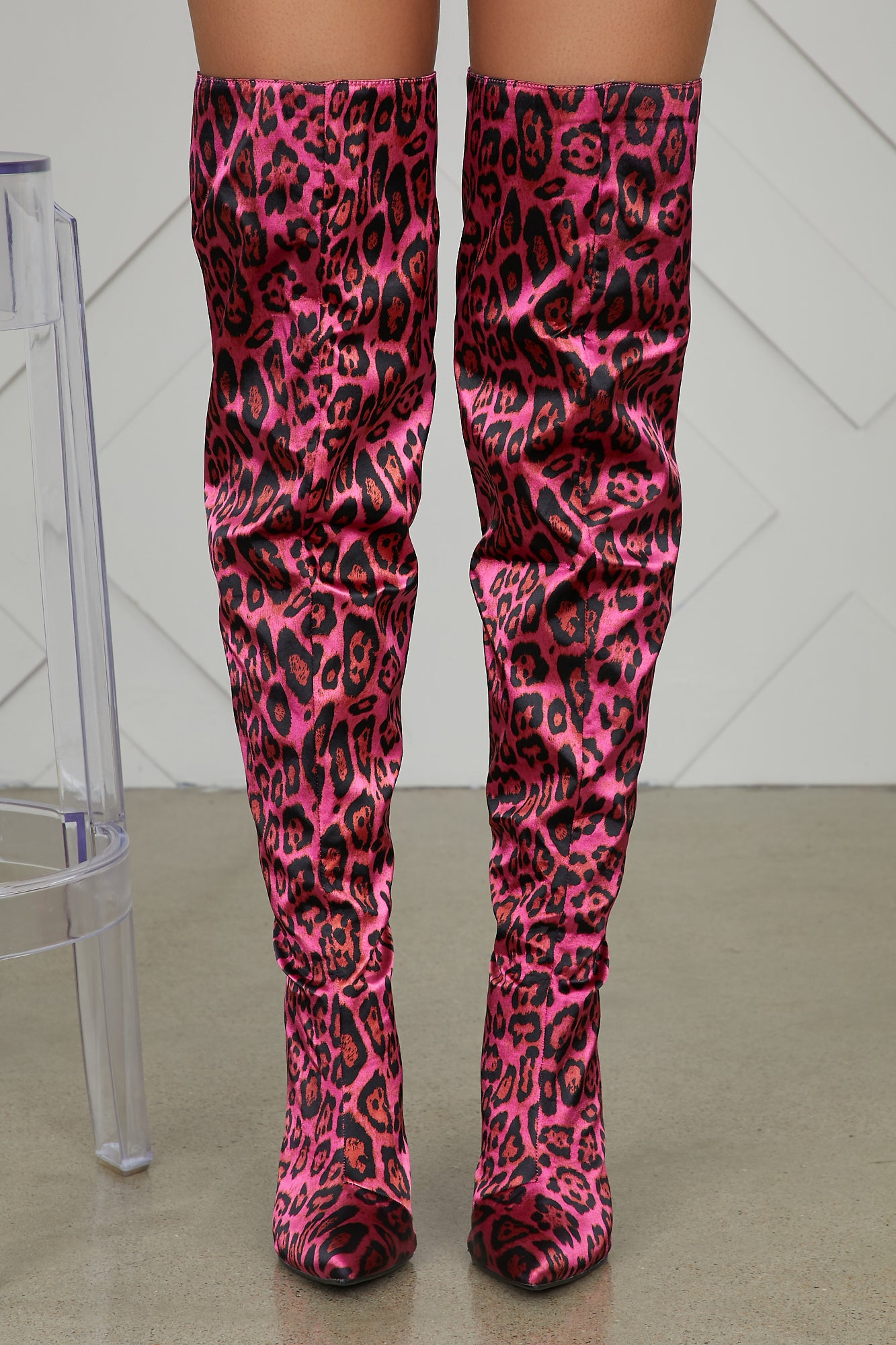 So Fetch Thigh High Leopard Boots (Pink)- FINAL SALE