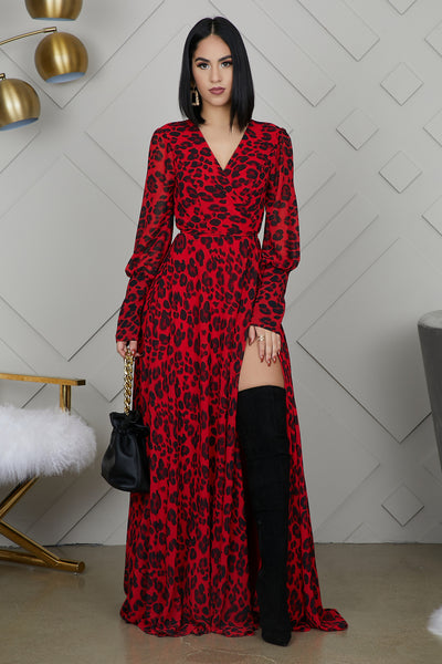 High Slit Leopard Maxi Dress (Red)