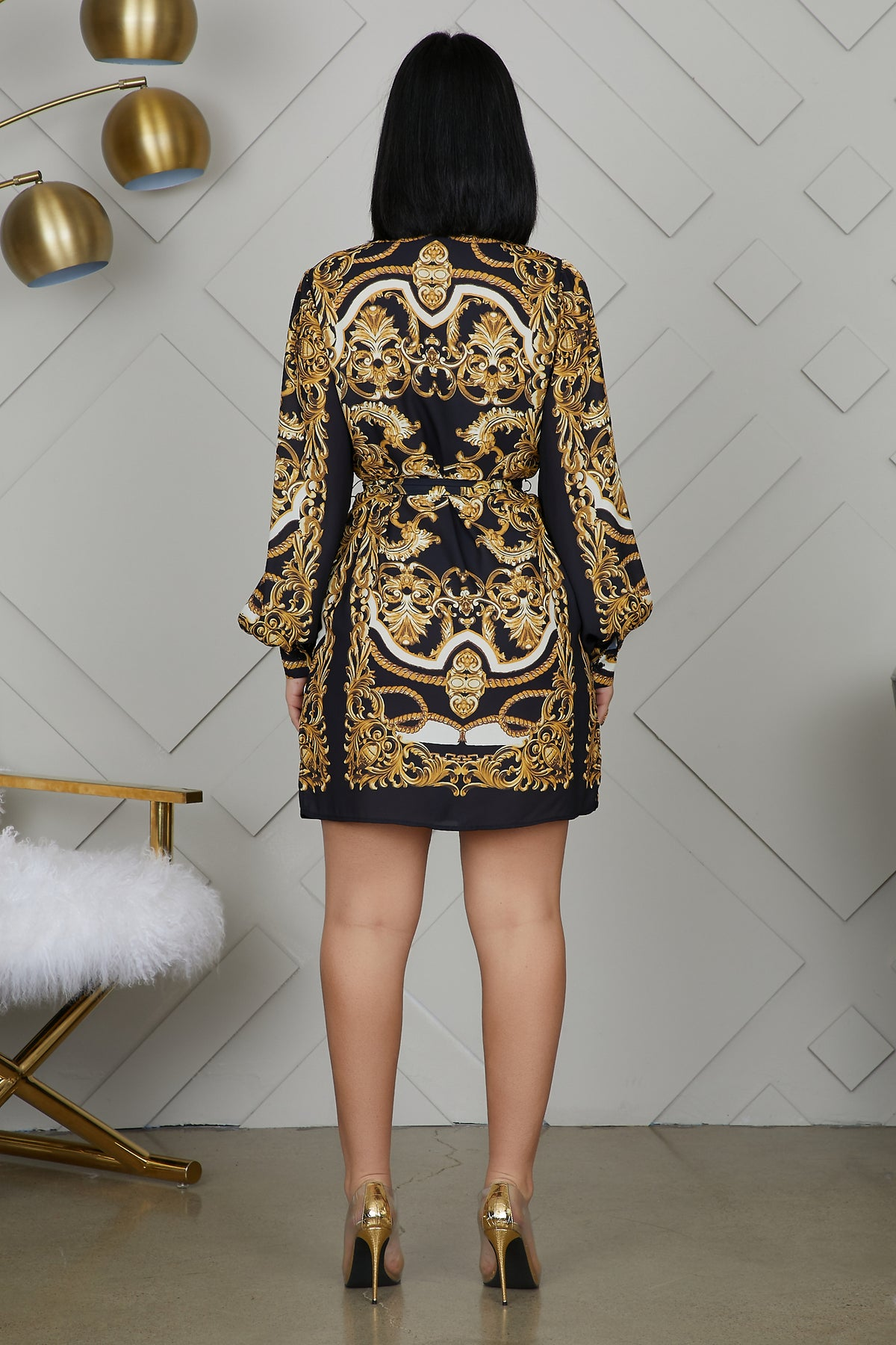 Chain Print Shirt Dress