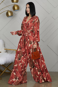 Fall Leaf Wide Leg Jumpsuit- FINAL SALE