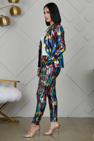 Multi Color Sequin Suit- FINAL SALE