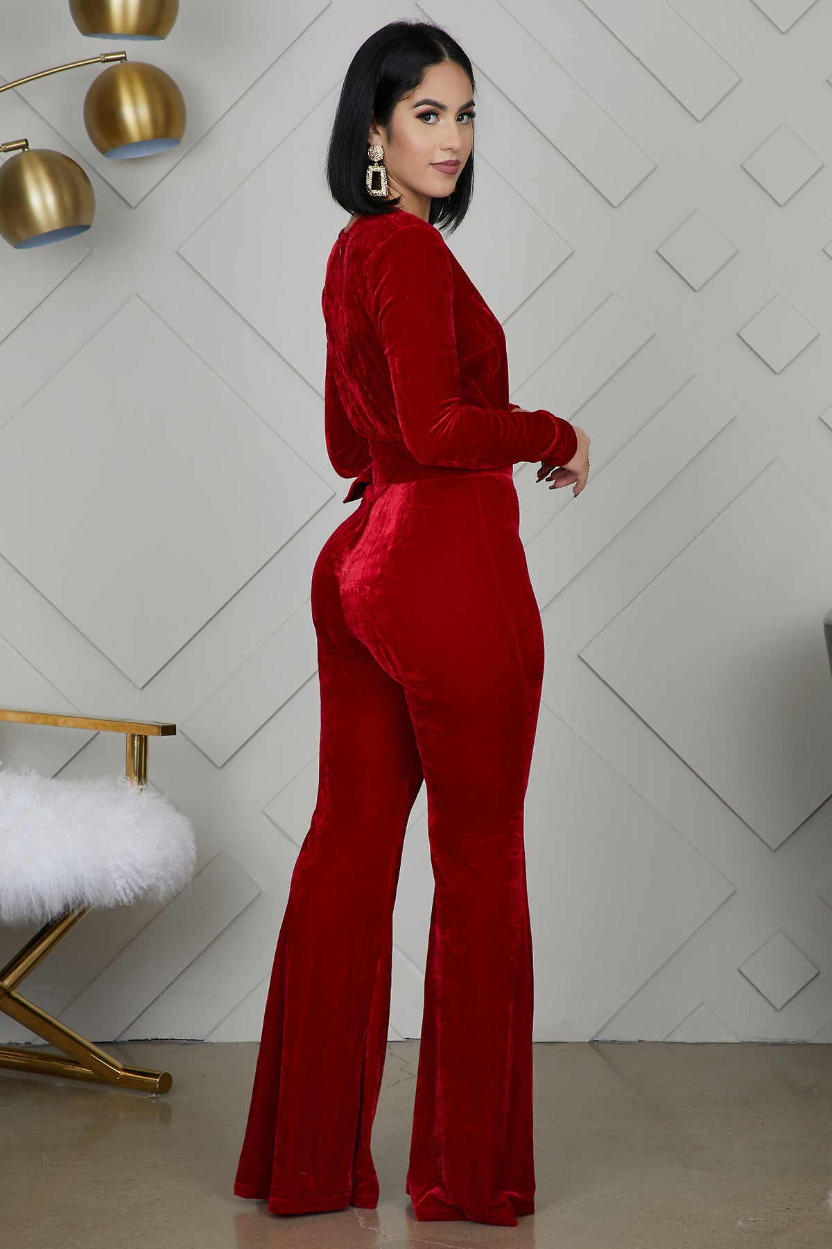 Velvet Jumpsuit (Wine)- FINAL SALE