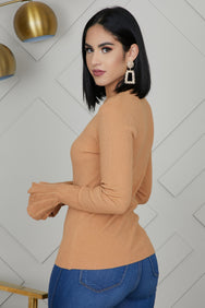 Bell Sleeve Knit Top (Camel)