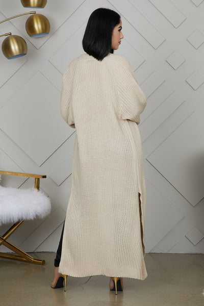 Knit Long Cardigan (Beige)