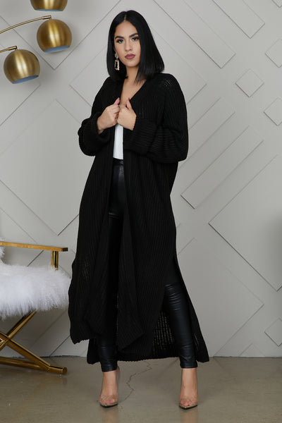 Knit Long Cardigan (Black)