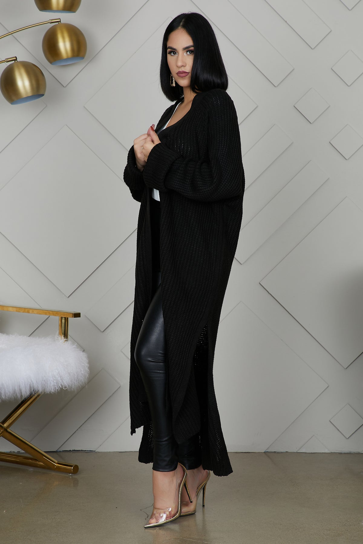 Knit Long Cardigan (Black) by Lilly's Kloset