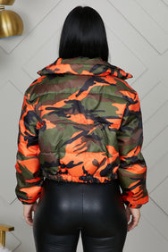 Midtown Camo Puffer Jacket (Orange)