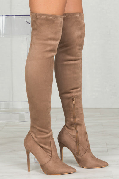 Lonnie Over The Knee Boots (Taupe)- FINAL SALE
