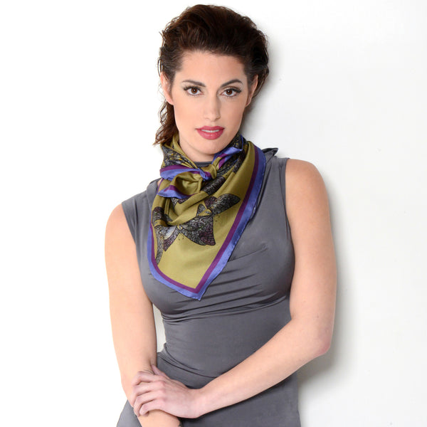 Model wearing Chetna Singh butterfly print square silk scarf.