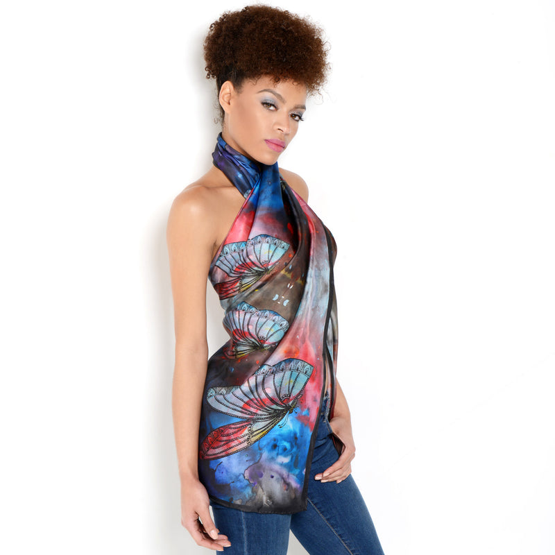 Model wearing Chetna Singh multi-color butterfly print long silk scarf.