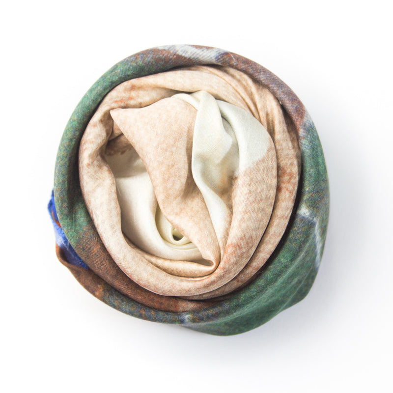 Chetna Singh multi-colour face and flower print square silk scarf.