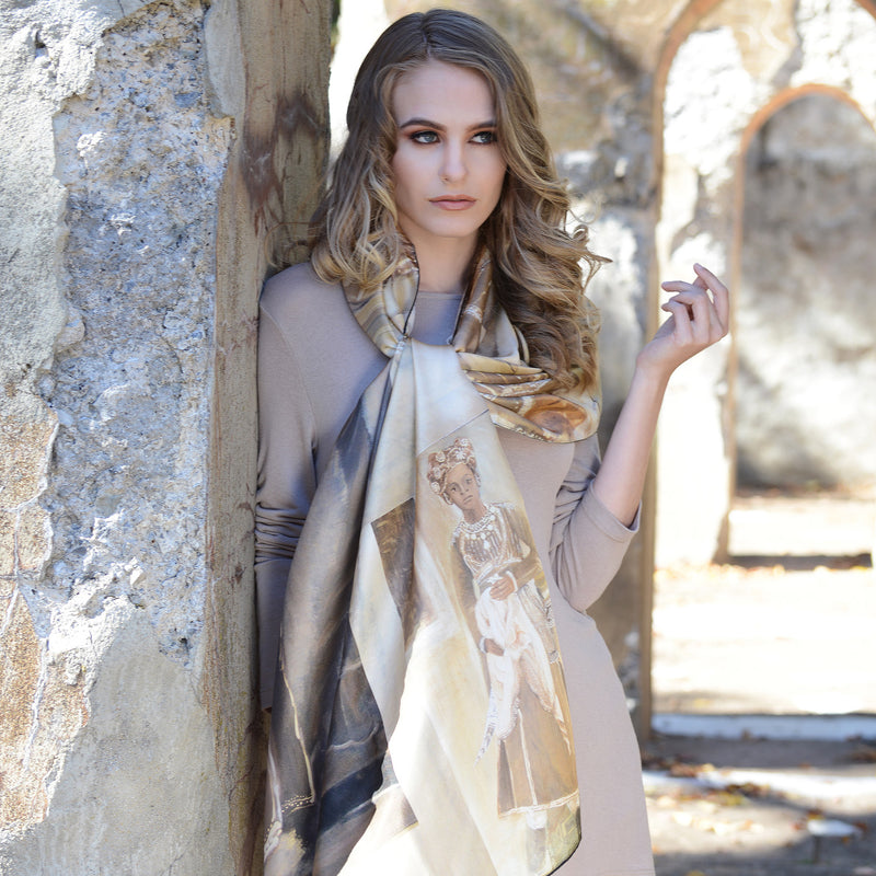 Model wearing Chetna Singh tan toned Jaipur print long silk scarf.