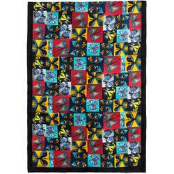 Chetna Singh multi-color butterfly print silk scarf.