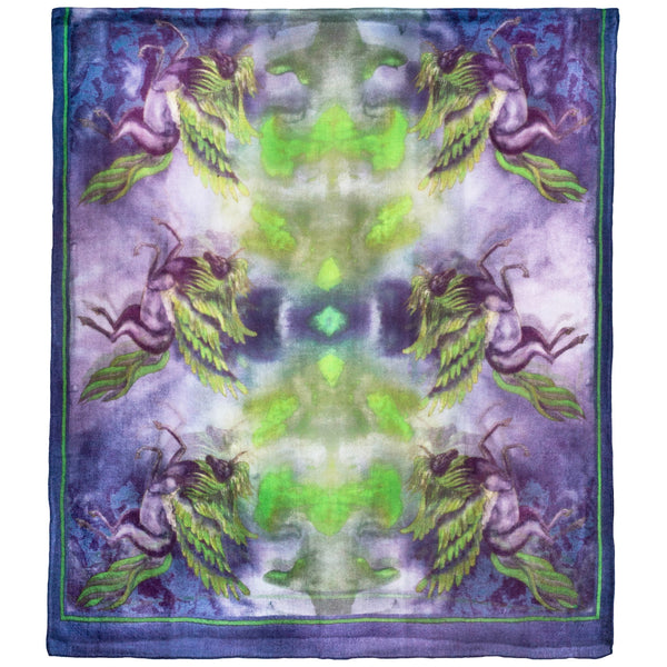 Chetna Singh purple and green printed Phoenix cashmere scarf.