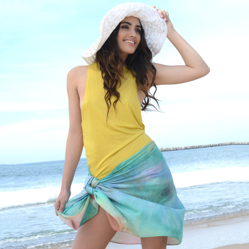 Model wearing Chetna Singh multi-color tie-dye print cotton scarf.
