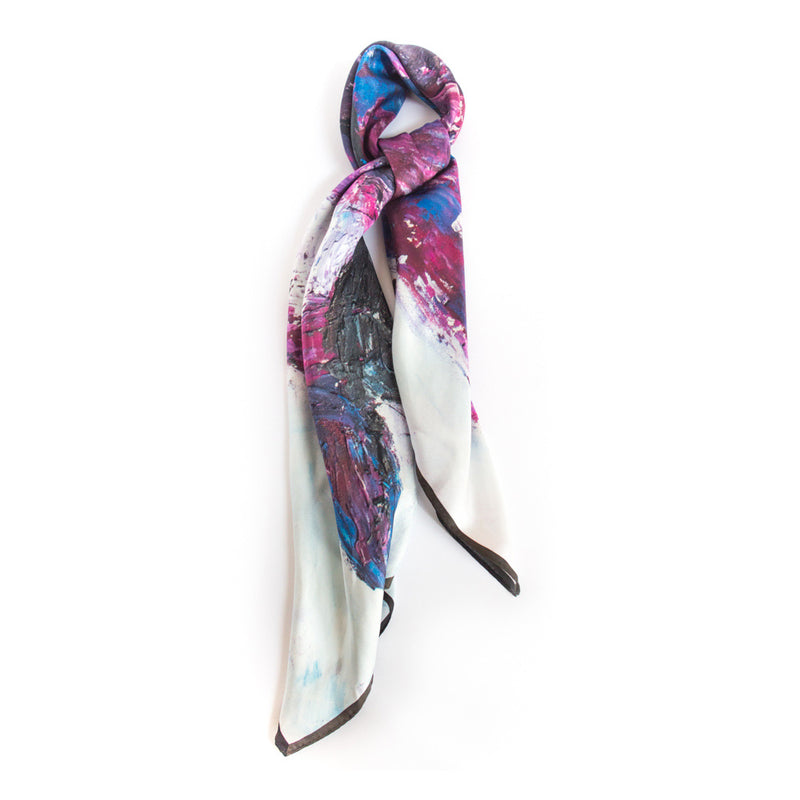 Chetna Singh white and purple horse print square silk scarf.