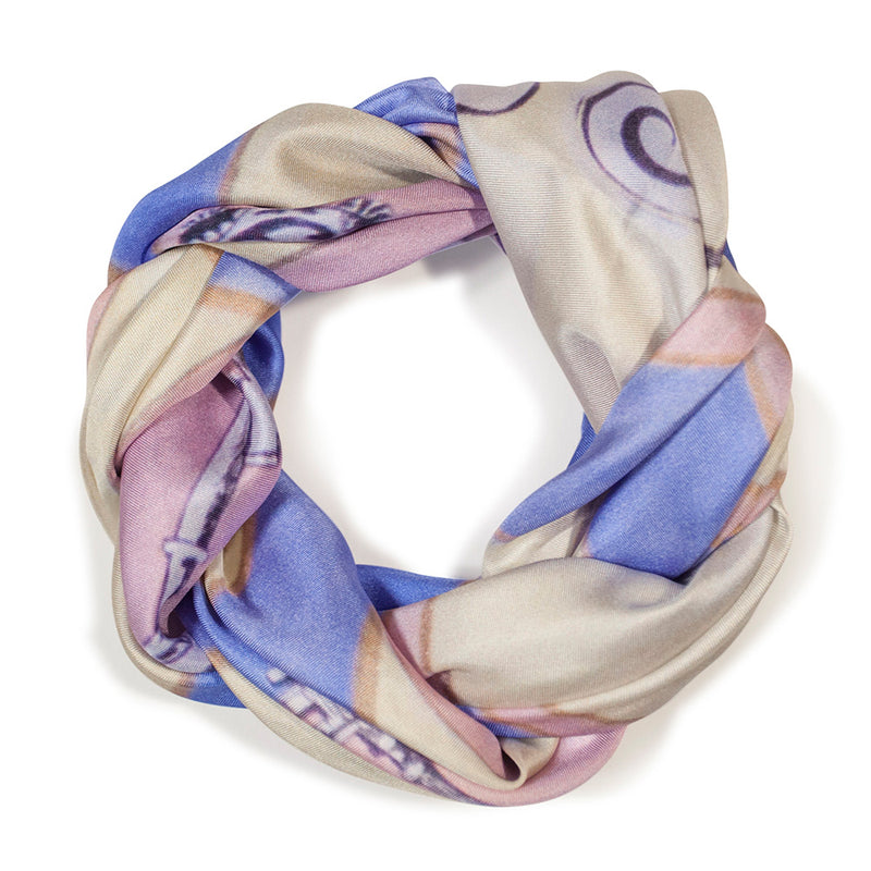 "Chetna Singh key and lock ""Paris"" print square silk scarf."