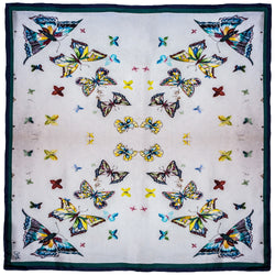 Chetna Singh butterfly print silk square scarf.