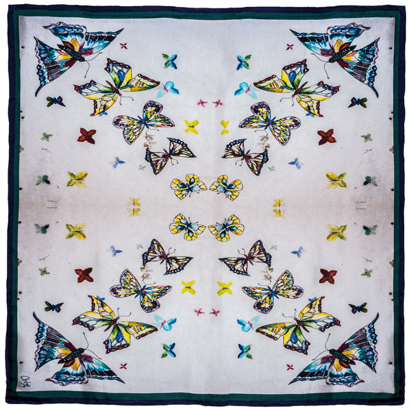Chetna Singh butterfly print silk pocket square.