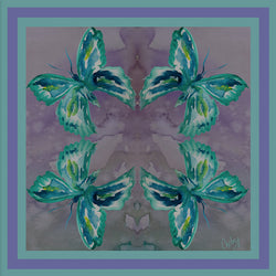 Chetna Singh jewel tone butterfly print silk pocket square.