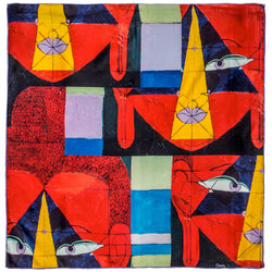 Chetna Singh Multi Color Buddha Face Square Silk Scarf.