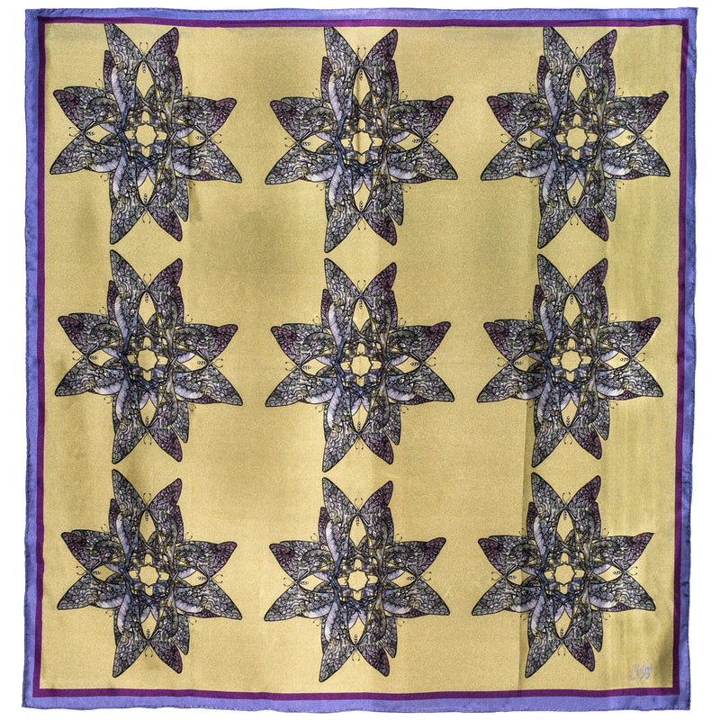 Chetna Singh butterfly print square silk scarf.