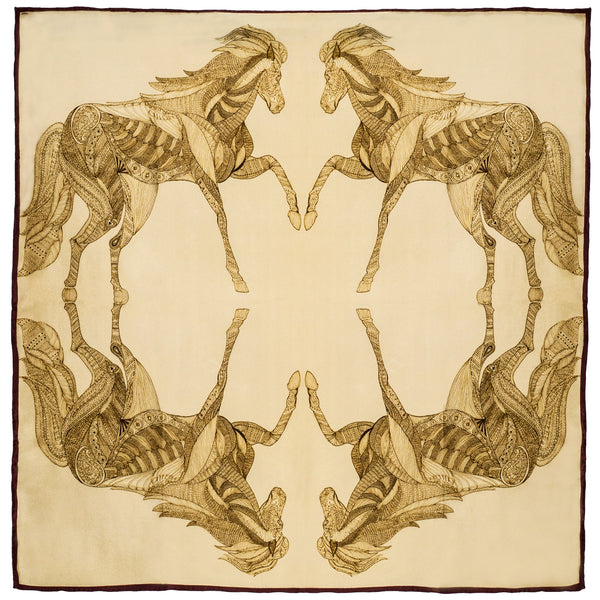 Chetna Singh gold tone horse print square silk scarf.