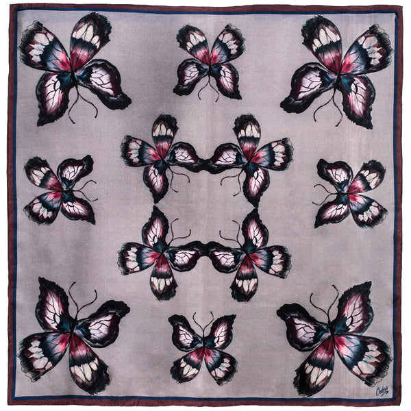Chetna Singh grey butterfly print square silk scarf.